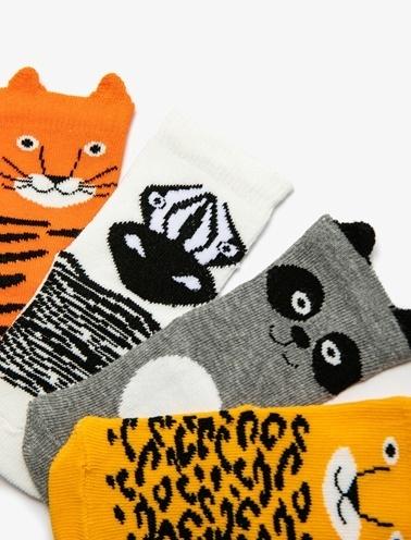 Koton Kids 4'lü Erkek Bebek Çorap Oranj
